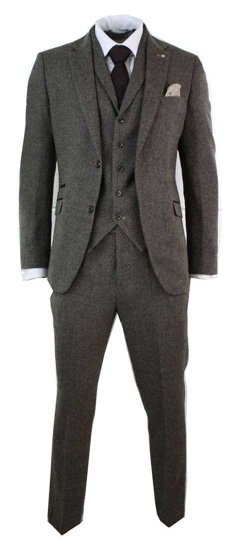 Kaos Brown Arm mens brown herringbone tweed wool mix black 3