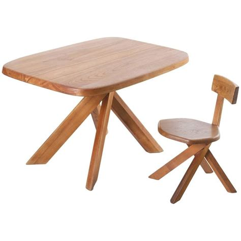 Elm Table And Chairs by Chapo Writing Table And Chair In Patinated Elm For