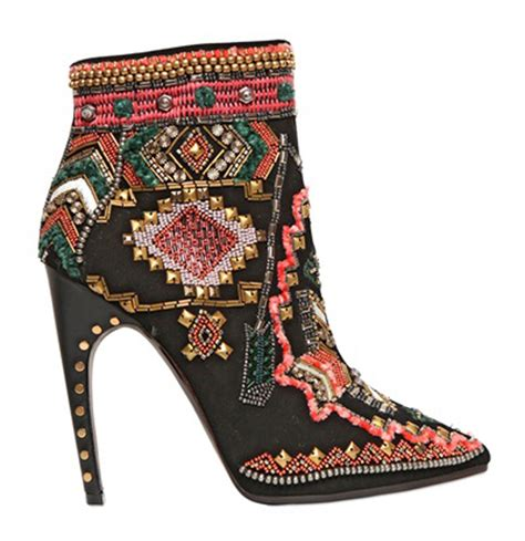 EMILIO PUCCI 115MM SUEDE EMBROIDERED ANKLE BOOTS   Shoes Post