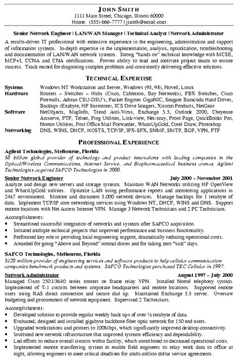 networking experience resume sles network engineer resume exle