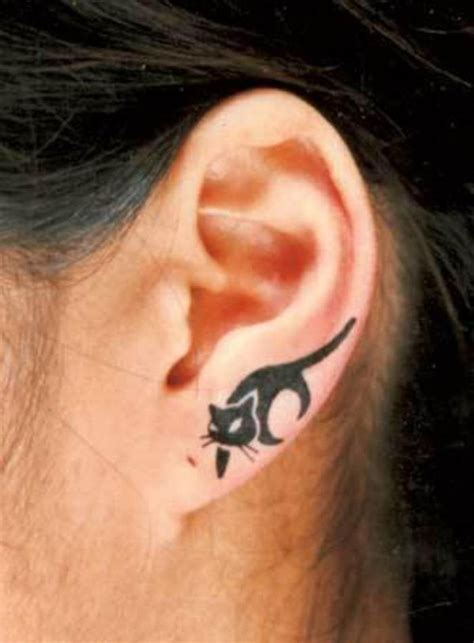 small cat tattoo behind ear the gallery for gt black cat ear