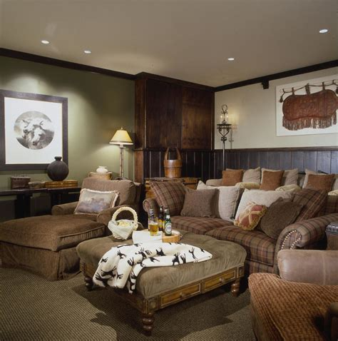 Dark wainscoting home theater rustic with cozy media room brown leather accent chair