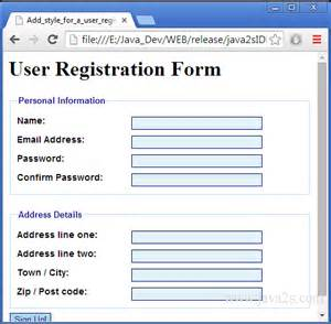 how to use a html template add style for a user registration form in html and css