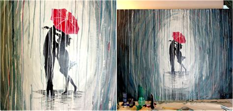 How To Paint A Rainy Day With Acrylics Easy Wall
