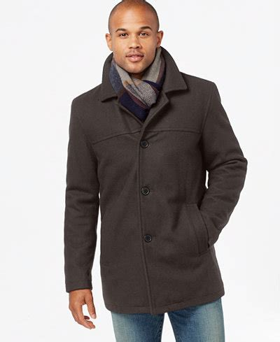 hilfiger melton wool walking coat with scarf coats