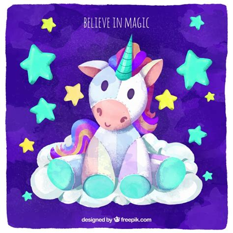 descargar imagenes de unicornios gratis fondo de acuarela con tierno unicornio y estrellas