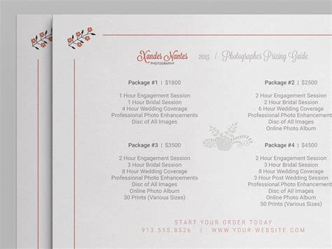 wedding price list template wedding photographer pricing guide price sheet list 5x7