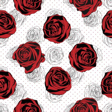 pattern for fabric roses red rose pattern fabric ka lou spoonflower