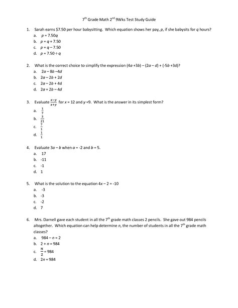 Grade Math Test Worksheets by 7th Grade Worksheet Category Page 4 Worksheeto
