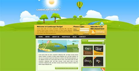 page layout css landscape landscape design drawn styled xhtml css template by