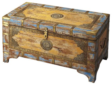 home decor trunks butler nador painted brass inlay storage trunk rustic