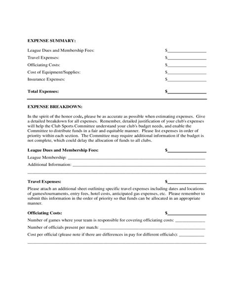 Club Sports Budget Proposal Form Free Download Form N Port Template