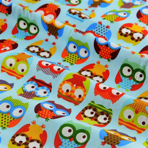 childrens upholstery fabric 1 meter big eye blue cute owl printed cotton fabric for