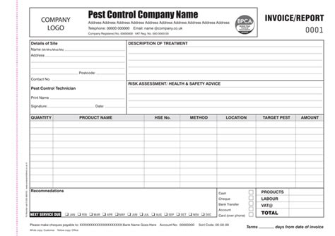 pest invoice template pest invoice report printing personalised
