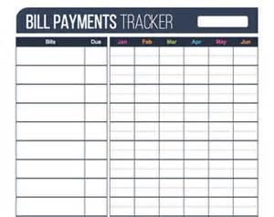 home finance bill organizer template credit card information printable editable personal