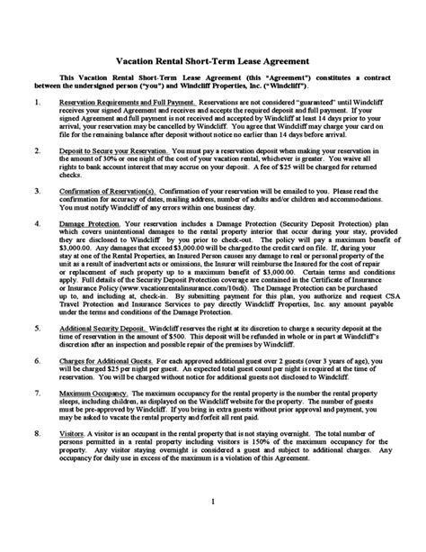 Vacation Rental Short Term Lease Agreement Free Download Condo Rental Lease Template