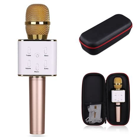 Microphone Q7 Bluetooth Wireless Portable Karaoke 2 q7 bluetooth wireless karaoke microphone with mic speaker handheld portable cad 27 20