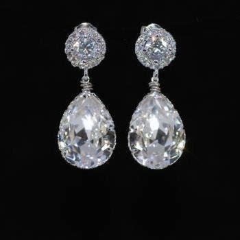 Green Cubic Zirconia 13mm wedding earrings bridesmaid earrings bridal jewelry