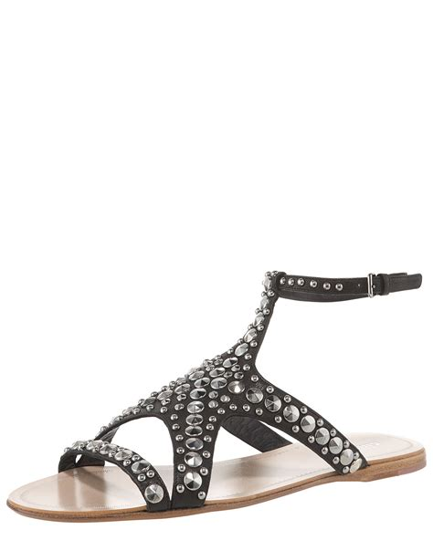 miu miu studded starfish flat sandal in black lyst