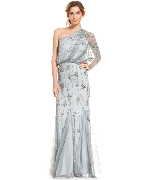 beaded blouson gown lyst papell oneshoulder beaded blouson gown in gray