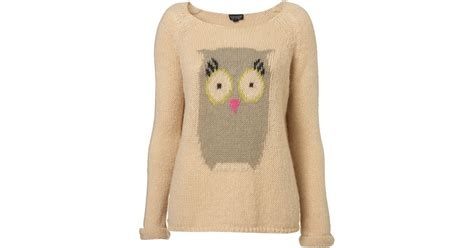 Topshops Owl by Topshop Knitted Owl Motif Jumper In Lyst