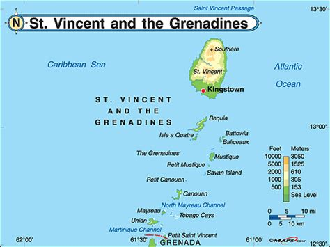 st vincent grenadines map st vincent the grenadines physical map by maps from
