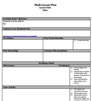 common aligned lesson plan template common danielson ali by capowski