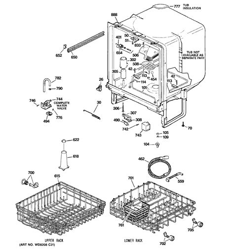 hotpoint dishwasher parts diagram parts diagram parts list for model hda3500n00bb
