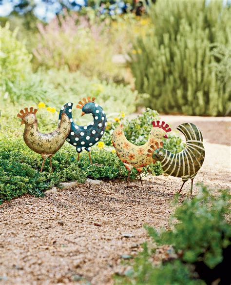 Funky Garden Decor Funky Chickens Set Of 4