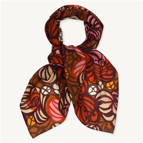 marimekko torstai orange pink brown wool scarf