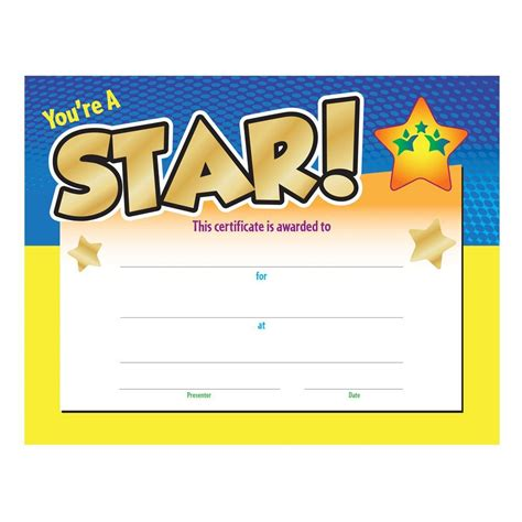 you re a star award certificate positive promotions