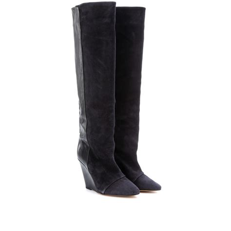 wedge knee boots marant prescott leather and suede wedge knee boots