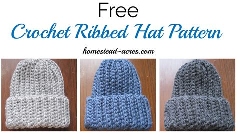 youtube id pattern crochet ribbed hat pattern homestead acres