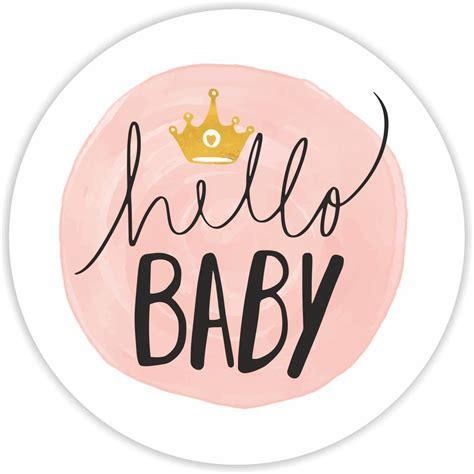 Promo Stiker Hello baby shower stickers hello baby pink 37mm matt paper