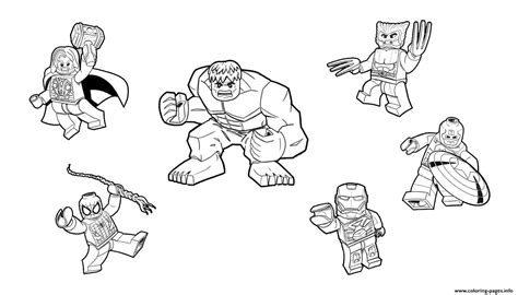 coloring pages of lego hulk team lego marvel hulk ironman spiderman thor america