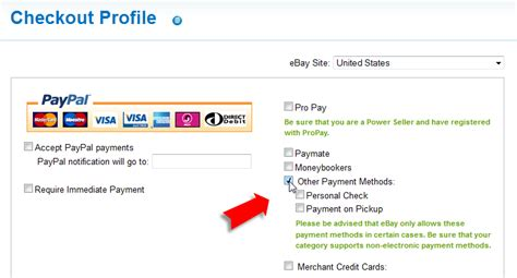 ebay payment methods how to create a checkout profile auctiva tutorials