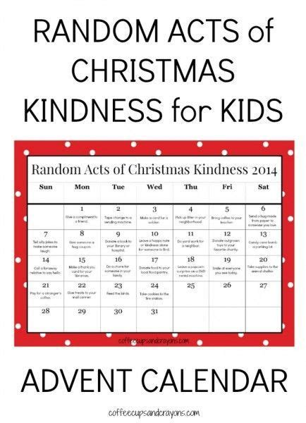 printable calendar ideas 24 random acts of christmas kindness for kids advent
