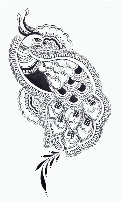 indian pattern tattoos tumblr black and white peacock design google search indian