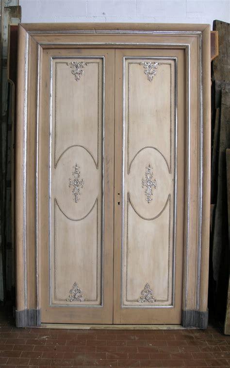 porte antiche laccate ptl232 n 2 porte laccate avorio e argento mis 156 x h
