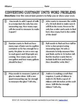 Measurement: Converting Customary Units Posters and