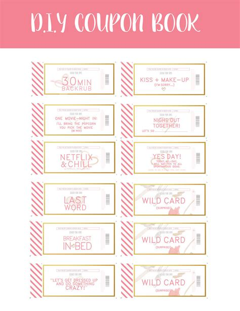 Coupon Book Template For Husband coupons instant by penandstock on etsy