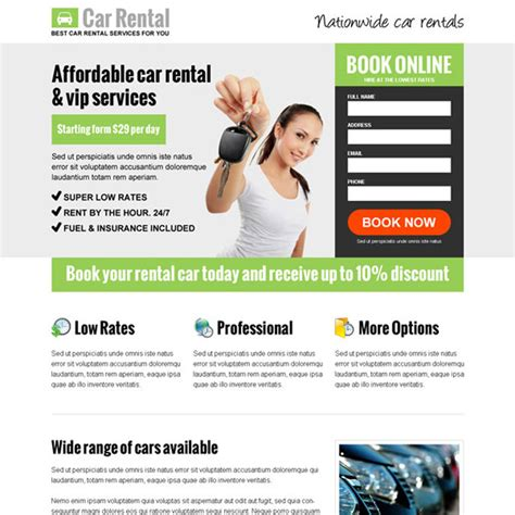 lead generation page template car hire and car rental responsive landing page design