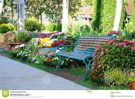 flower garden bench japanese garden bench flower bushes stock photo image