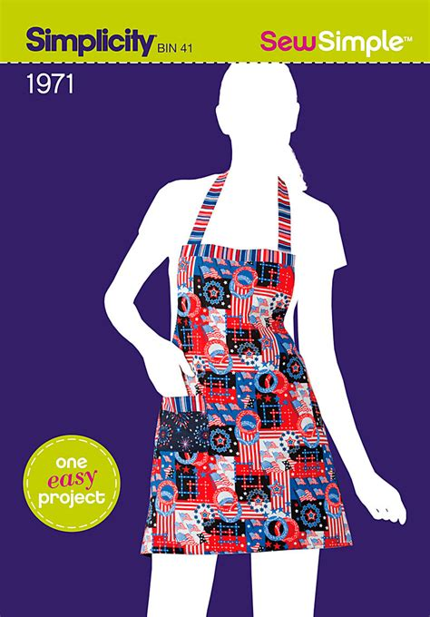 easy simplicity apron pattern simplicity 1971 sew simple reversible apron sewing pattern