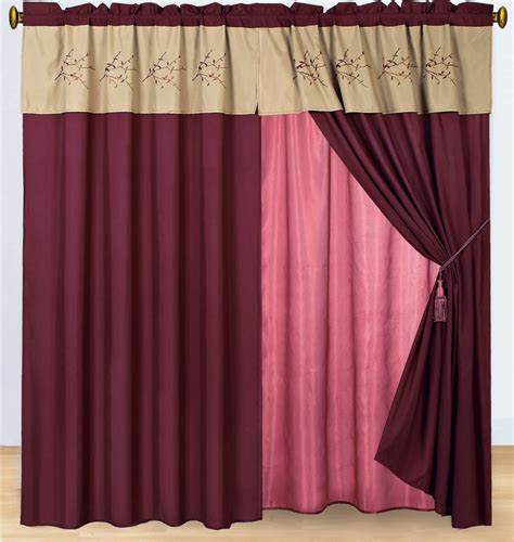 burgundy and beige curtains burgundy and tan floral embroidered curtain set w valance