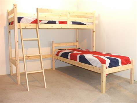 Small Single Bunk Beds Mandoline 2ft 6 Small Single Length Solid Pine L Shaped Bunk Bed
