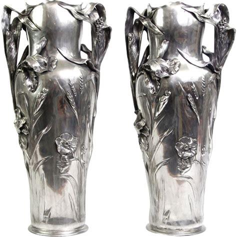 pewter floor vases nouveau pair of large pewter floor vases j r hannig