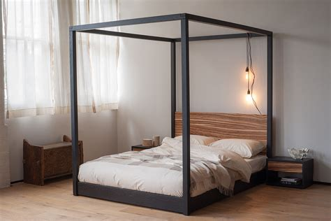 Zebrano Cube 4 Poster Bed   Natural Bed Company