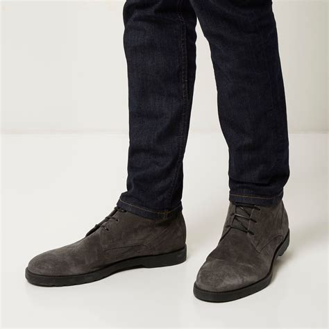 gray suede boots lyst river island grey suede chunky chukka boots in