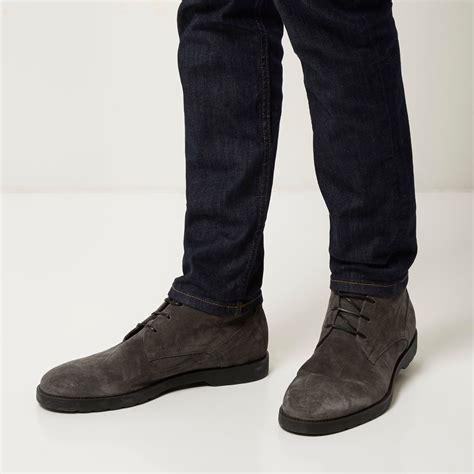 grey chukka boots lyst river island grey suede chunky chukka boots in